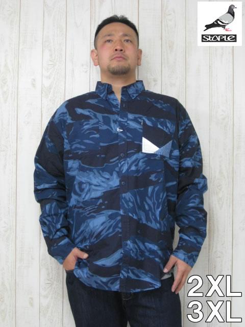 (大きいサイズ メンズ 通販 デビルーズ)「TIGER CAMO」長袖シャツ