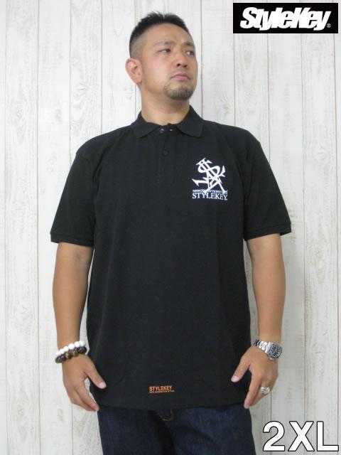 (大きいサイズ メンズ 通販 デビルーズ)STYLEKEY」(スタイルキー)「TRIANGLE LOGO」半袖ポロシャツ