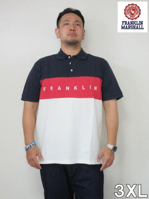 (大きいサイズ メンズ 通販 デビルーズ)FRANKLIN&MARSHALL 切り替え半袖ポロシャツ