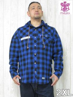 (大きいサイズ メンズ 通販 デビルーズ)MISHKA(ミシカ)「UTILIY」フード付き 長袖ネルシャツ