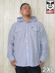 (大きいサイズ メンズ 通販 デビルーズ)OBEY(オベイ)「VIRGIL」フード付 シャツジャケット