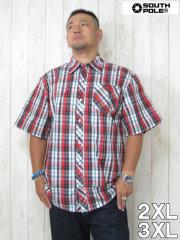 (大きいサイズ メンズ 通販 デビルーズ)SOUTHPOLE(サウスポール)チェック半袖シャツ