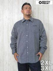 (大きいサイズ メンズ 通販 デビルーズ)SP(サウスポール)ストライプ長袖シャツ