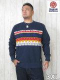 (大きいサイズ メンズ 通販 デビルーズ)FRANKLIN&MARSHALL「KNIT LINE」スウェットシャツ