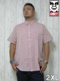 (大きいサイズ メンズ 通販 デビルーズ)OBEY(オベイ)「CAPITAL WOVEN」半袖シャツ