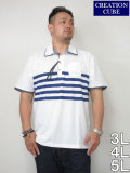(大きいサイズ メンズ 通販 デビルーズ)CREATION CUBE パネルボーダープリント 半袖ポロシャツ