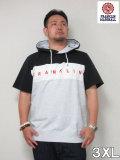 (大きいサイズ メンズ 通販 デビルーズ)FRANKLIN&MARSHALL切り替えフード付き半袖スウェットシャツ