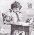 5枚組ペーパーナプキン*Girl Writing