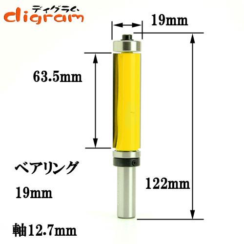 ルーター ビット ダブルベアリング・フラッシュトリム・ロングビット1/2(刃径19mm)Microtungsten carbide 【dm09410】