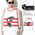 FAMOUS フェイマス タンクトップ メンズ ボーダー柄 FM01140035 ヒップホップ B系 ストリート系 ファッション fmt098