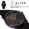 ALIVE アライブ 腕時計 THE CLASSICS LEATHER ALL BLACK 時計 ファッション 小物 アクセサリー メンズ レディース ファッション