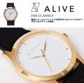 ALIVE アライブ 腕時計 THE CLASSICS LEATHER WHITE BLACK 時計 ファッション 小物 アクセサリー メンズ レディース ファッション HHAT586