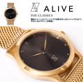 ALIVE アライブ 腕時計 THE CLASSICS METAL GOLD BLACK 時計 ファッション 小物 アクセサリー メンズ レディース ファッション HHAT587