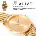 ALIVE アライブ 腕時計 THE CLASSICS METAL GOLD ゴールド 時計 ファッション 小物 アクセサリー メンズ レディース ファッション HHAT588