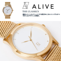 ALIVE アライブ 腕時計 THE CLASSICS METAL GOLD WHITE 時計 ファッション 小物 アクセサリー メンズ レディース ファッション HHAT589