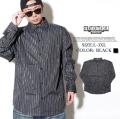 B系 シャツ SOC エスオーシー メンズ ブラック ストライプシャツ 黒 B系 ファッション ストリート系 大きいサイズ HOPHOP-SOC001