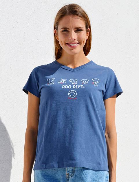 【WOMEN】SMILEドッグVネックTシャツ