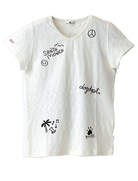 【WOMEN】手書きイラストVネックTシャツ