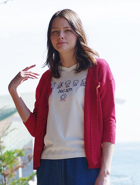【WOMEN】メッシュ編みクルーカーデ