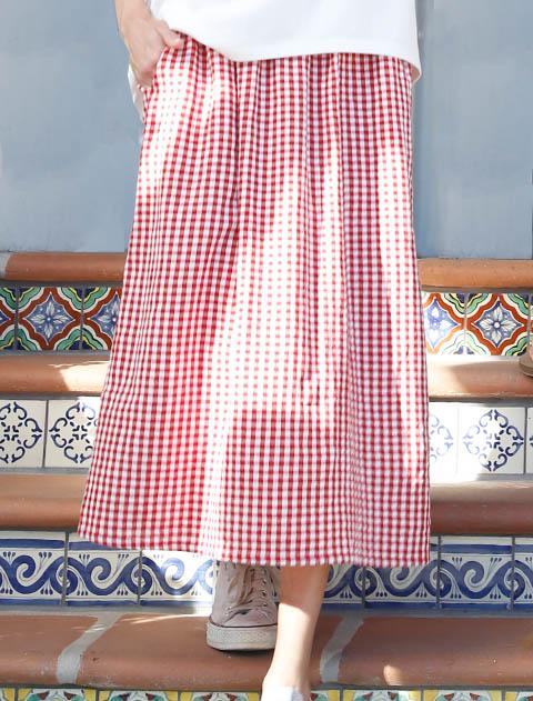 【WOMEN】パナマギンガムスカート
