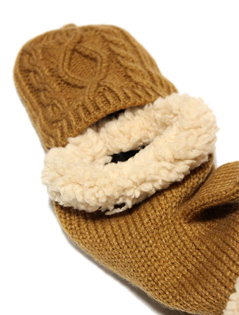 women'sケーブルフード手袋