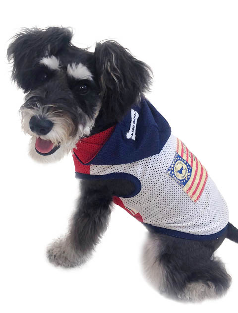 【DOG WEAR】フラッグアップリケ メッシュパーカー