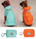 NEW!犬のレインコート 使わないときにはポーチに収納! コンパクトレインコート M