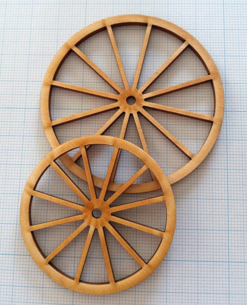 木製車輪3 (約φ76mm)(2枚セット)