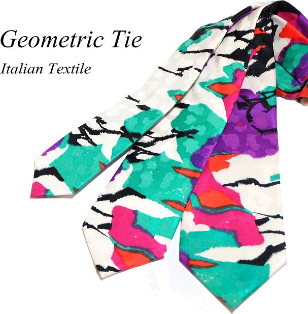 数量限定 ネクタイ 幾何学柄 イタリア製シルク 3サイズ展開 送料無料