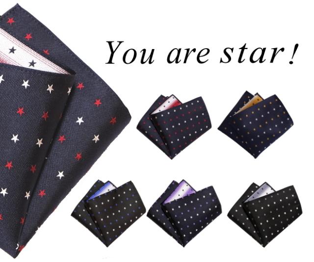 ポケットチーフ 星柄 中 シルク 日本製