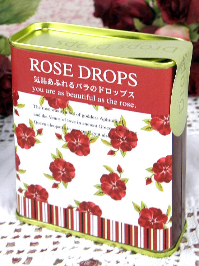 <Rose Drops>懐かしい缶入りのバラの花びら入り「ローズ・ドロップ」