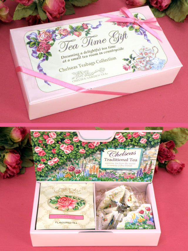 <CHELSEA GARDEN TEA>美しい化粧箱入り「ガーデンローズティー&青い鳥シュガー:コレクション」