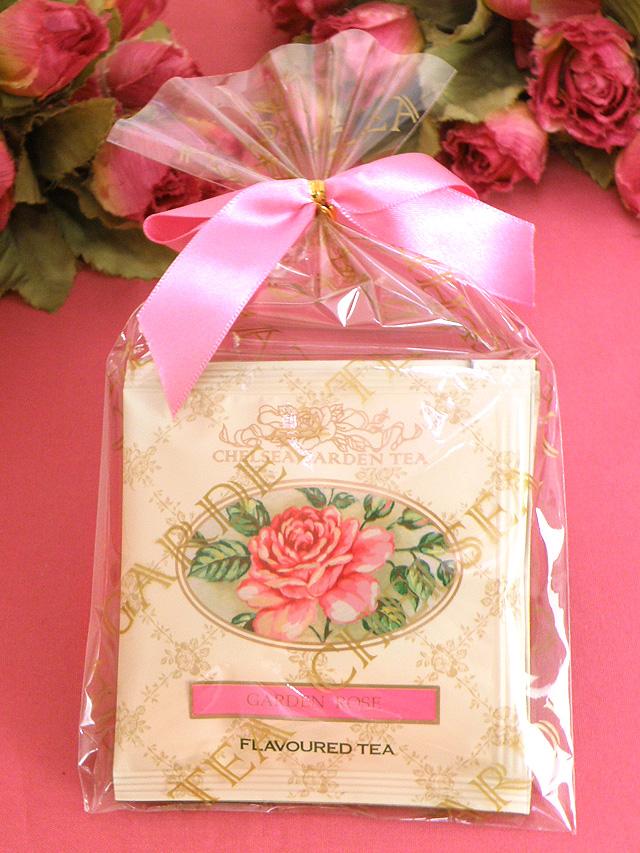 <CHELSEA GARDEN TEA>ピンクの大きなおリボンがかわいい♪「ガーデンローズティー:3袋パック」