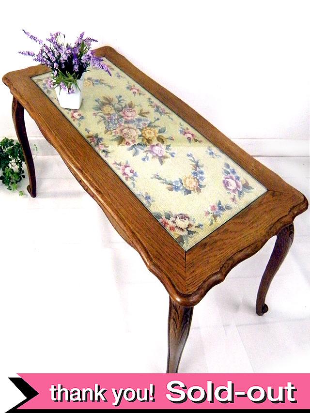 <フランス製>1930年代:刺しゅうのバラの園♪オールドオークが美しいテーブル