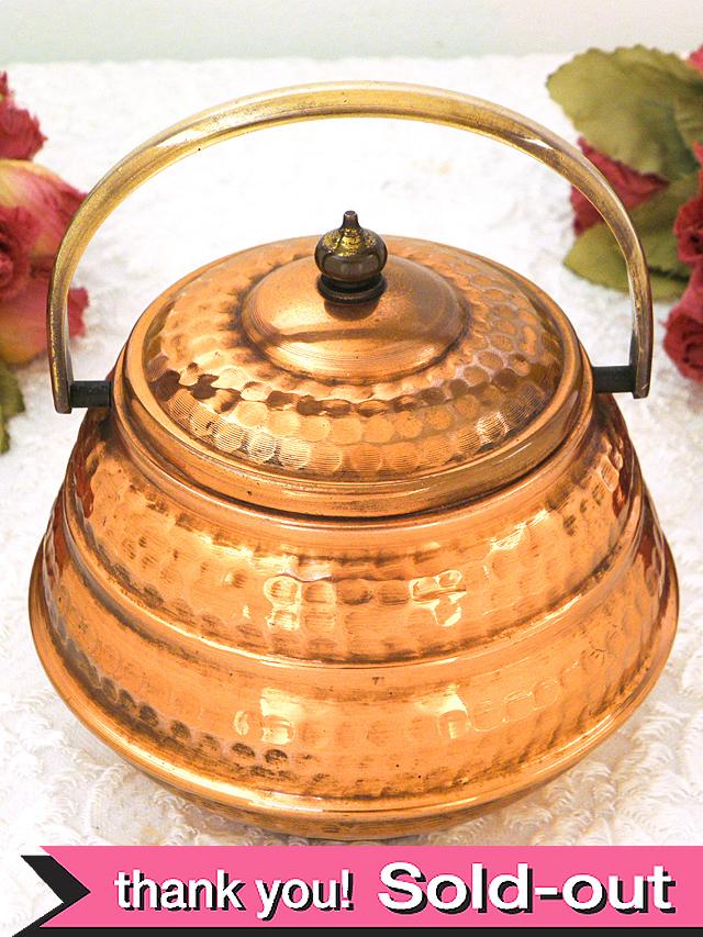 1930年代:レア♪とても珍しい持ち手が付いた銅のふた付ポット