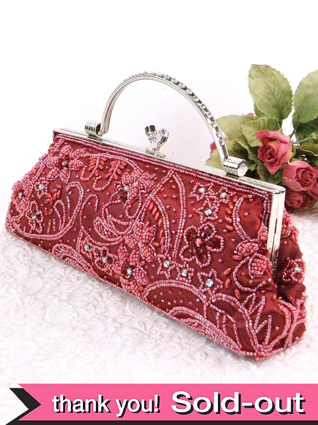 <英国パーティバッグ>輝くビーズのお花たちのビンテージの2WAYのパーティバッグ