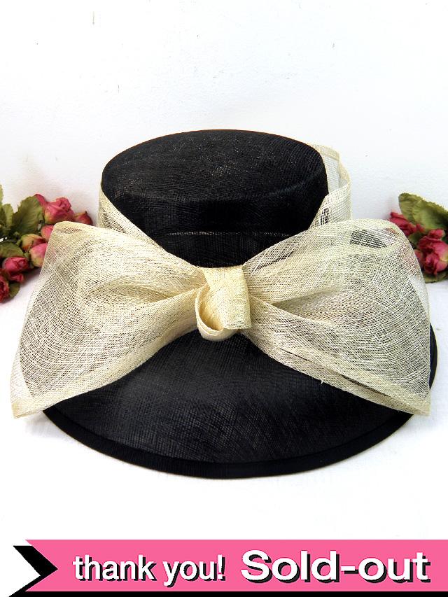<英国ビンテージHAT>ヴィクトリアン貴婦人のような黒色の優雅なお帽子