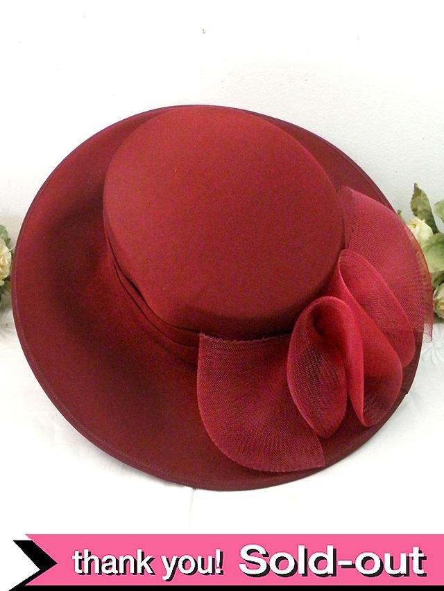 <英国ビンテージHAT>ワインレッドのような大人の赤♪ヴィクトリアン貴婦人のようなお帽子:18400→到着記念として