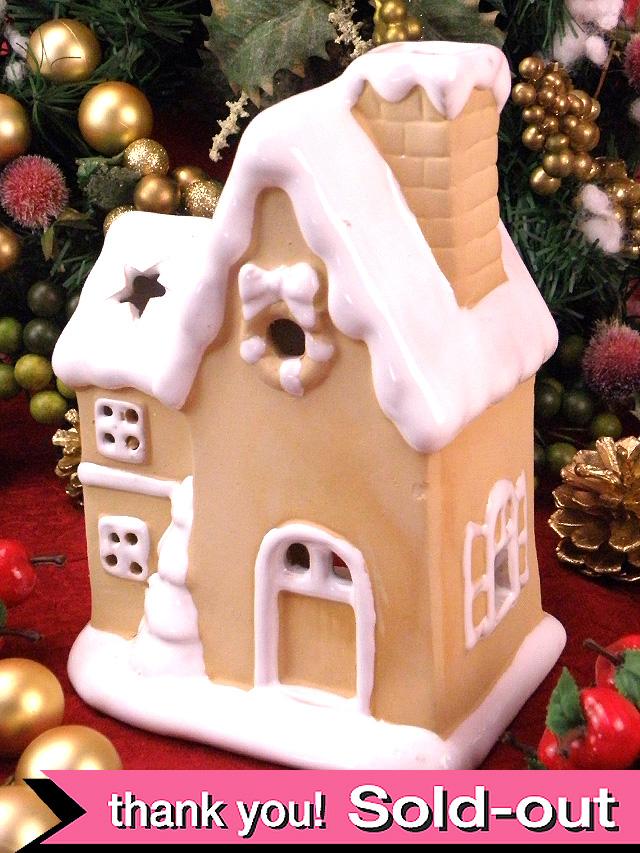 <英国クリスマス>クリスマスのカントリーコテージ♪大きな陶器のキャンドル・ホルダー