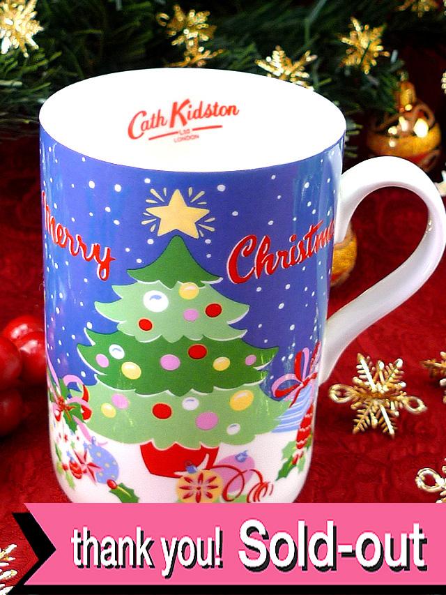 <英国クリスマス・マグ>英国「キャス・キッドソン」の楽しいクリスマスツリーのマグカップ