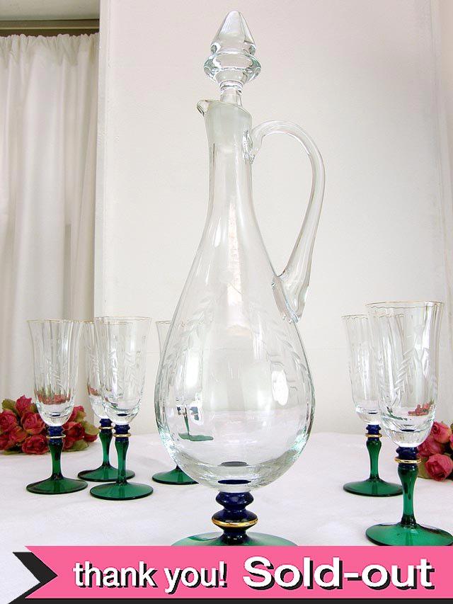 1930年代:美しいクリスタルガラスの光のデカンタ&グラス「7個セット」