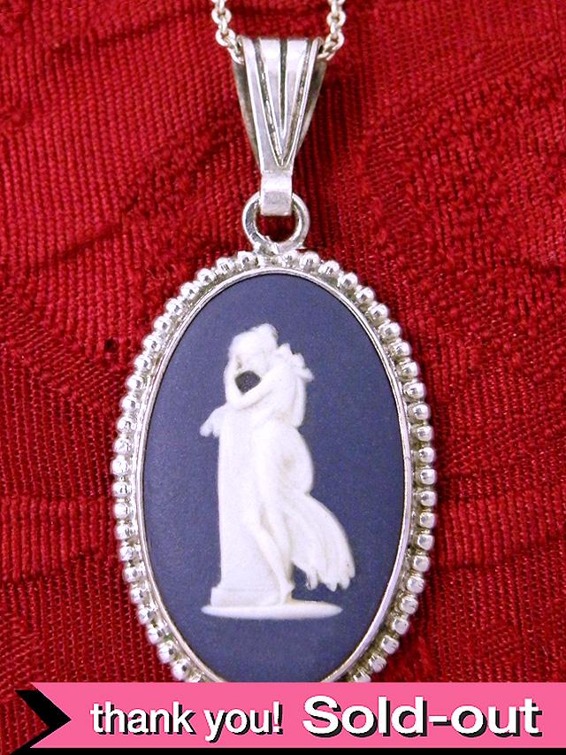 <英国スターリングシルバー>ウエッジウッド:珍しい紺色ジャスパーの優雅な女神様のネックレス