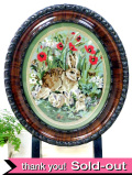 1920年代:ハンドメイド刺しゅう♪英国のお花たちとウサギさんのマホガニーの楕円形のファイヤースクリーン