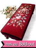 <英国ビンテージ>優雅なバラの刺しゅうのお花たち♪全長80cm英国のとても大きなフットスツール
