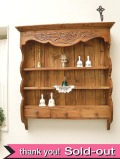 【限定3個!】<英国オールドパイン家具>手彫りの植物たちが美しいオールドパインの「引き出し付3段シェルフ」