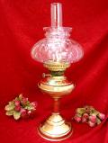 1920年代:ぽったりとした透明のガラス細工♪優雅な真鍮細工のとても大きな英国アンティークのオイルランプ