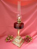 1910年代:エドワーディアン時代♪アイアンとアンティークガラスの大きなオイルランプ