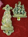 1940年代:優雅な真鍮細工♪とても珍しい無垢の真鍮の帆船のドアノッカー