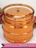 1930年代:レア「ビスケット缶」♪とても珍しい持ち手が付いた銅のビスケット・バレル