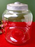 1930年代:なつかしい透明ガラス♪とてもとても大きなアンティークの保存ビン